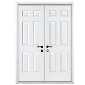 Cheap price wooden internal door 6 panel white primer HDF moulded doors with door frame