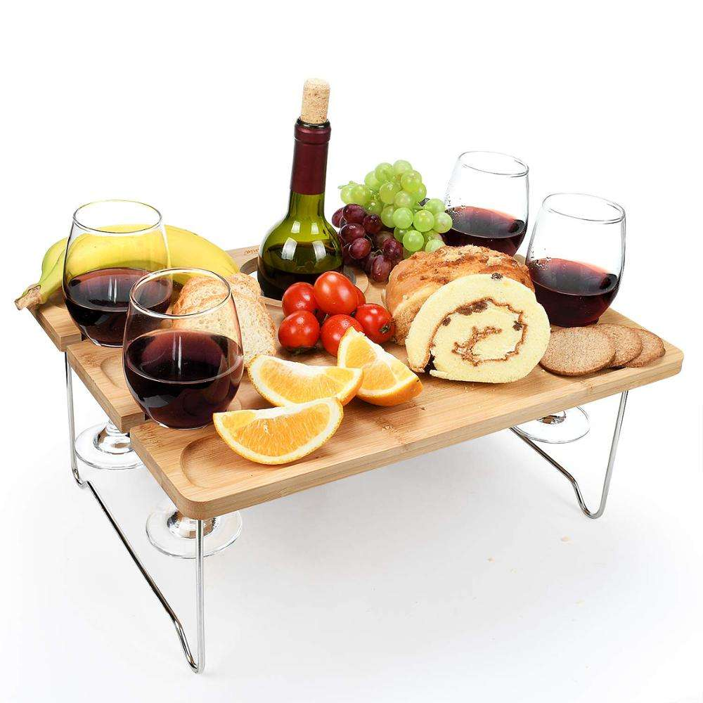 Bamboo Portable Wine Table and Party Puzzle Platter picnic table for Picnic Outdoor
