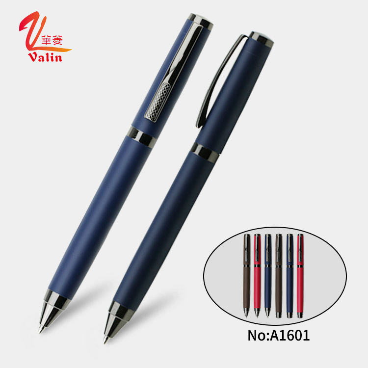 New Design Matte Gun Black Finished Twist Metal Ball Pen with Gift Box