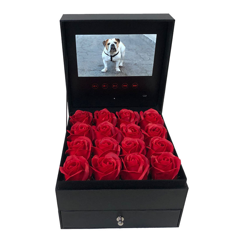 Long Lasting Lcd Screen Artificial Eternal Preserved Roses in Gift Box Forever Gifts