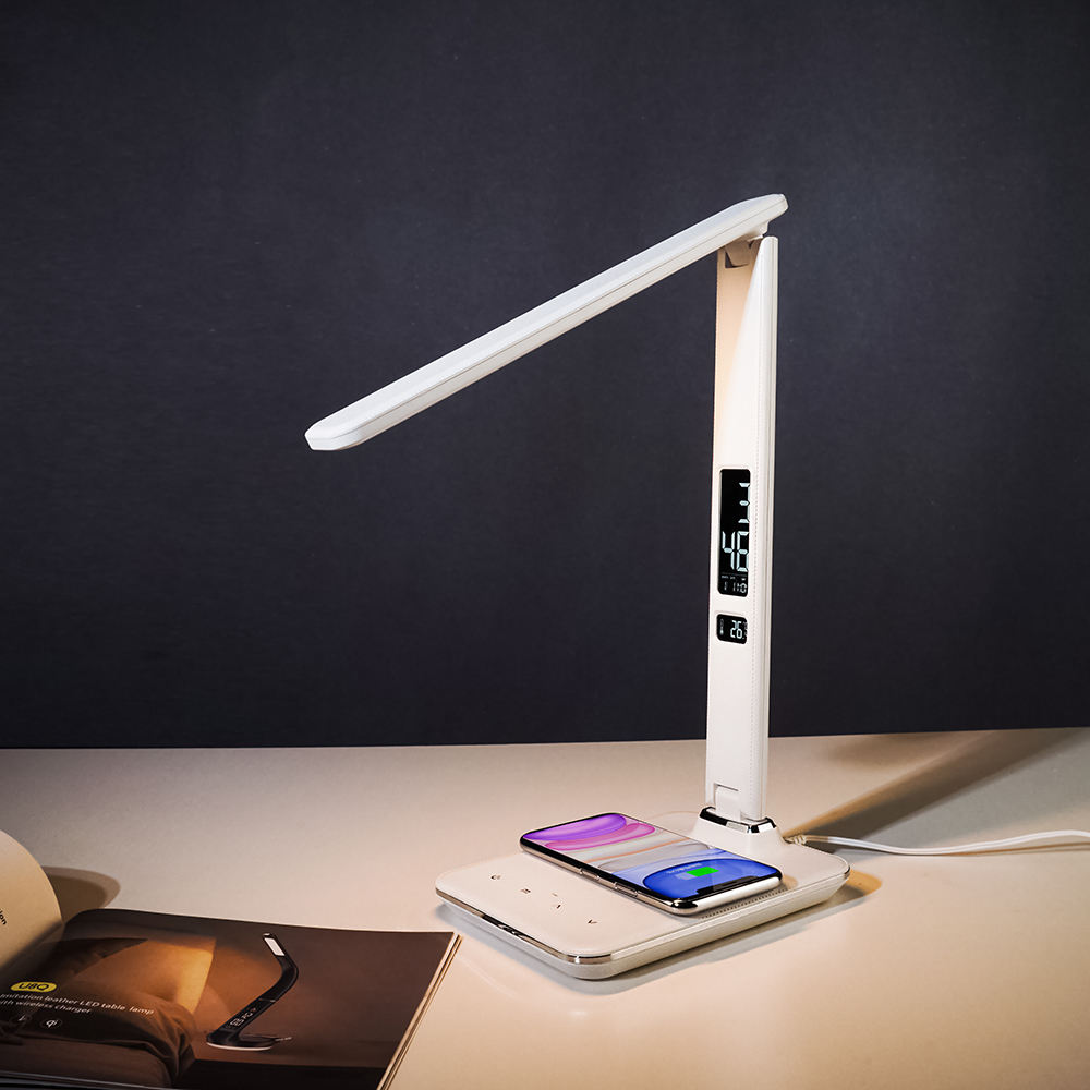 Reading LED desk lamp with alarm/clock/calendar/temperature LCD display and wireless charger