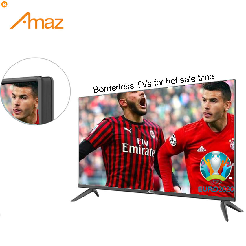 Amaz factory OEM borderless no frame ultra slim frame 32 43 50 inch small bezel led lcd tv 4k android smart television tv
