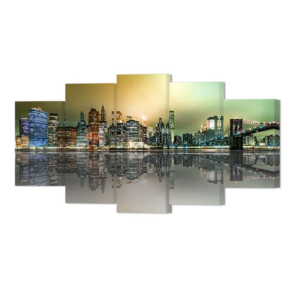 Canvas Print New York City Decor Brooklyn Bridge Manhattan City Night View Picture Living Room Bedroom Wall Decor