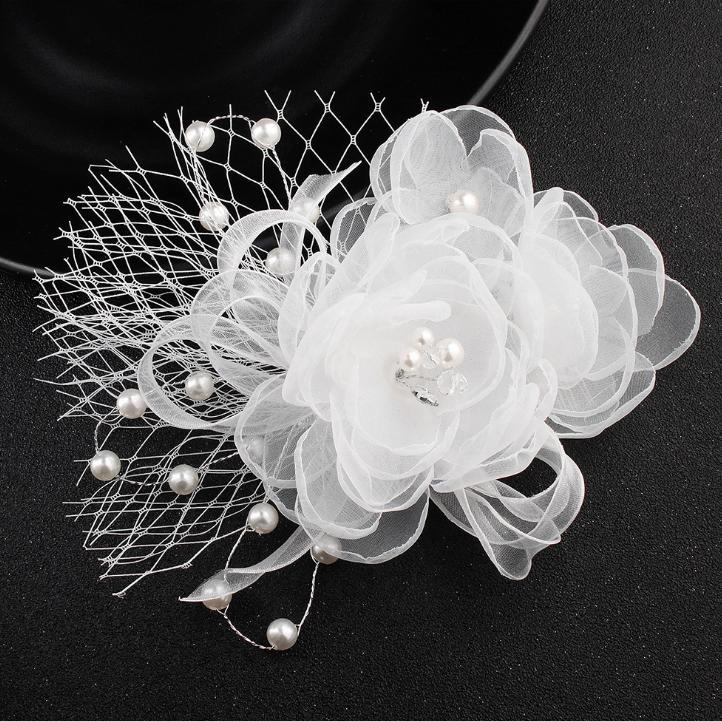 Pearl Lace Flower Bridal Crystal Alloy Hair Combs For Women
