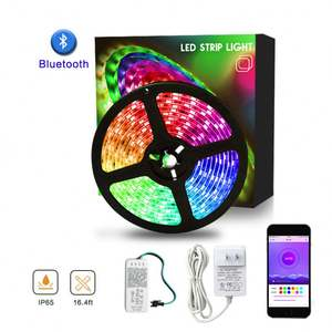 SMD 5050 5m 150 LEDs WS2811 Waterproof Bluetooth Color Chang Kit LED Strip Lights Work with Alexa Google Assistant