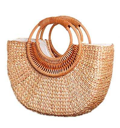 2020 Hot-selling 100% Hand-made nature Straw bag Summer Half Moon Shape Holiday Tote Bag beach backpack