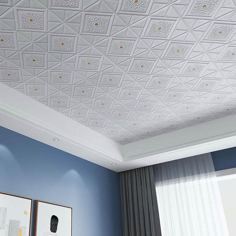Rich colors pe foam waterproof 3d ceiling wallpaper for home decoration