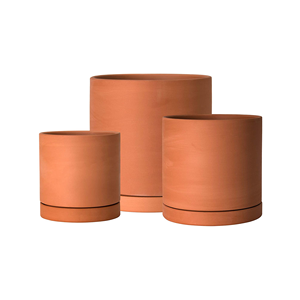 outdoor garden Round Cylinder Pots Terracotta Planter Pots with Drainage Hole and Saucer