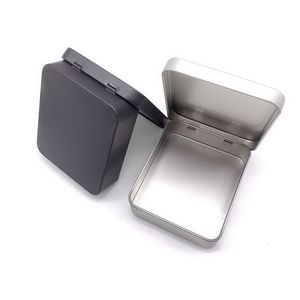 Hinged Rectangular Silver/Black Playing Card Packing Metal Tins with Lid Wholesale