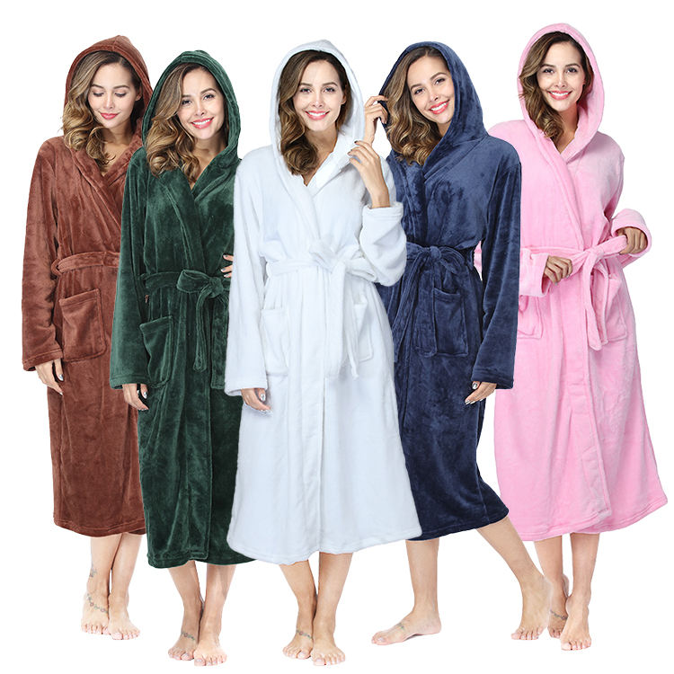 Groothandel Sexy <span class=keywords><strong>Dames</strong></span> Lake Blauwe Flanellen <span class=keywords><strong>Badjas</strong></span> 100% Polyester Lange Mouw Nacht-Gewaad Met Hoed Femme <span class=keywords><strong>Badjas</strong></span>