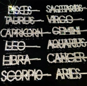 Q88 Girl Hair Accessories Rhinestone 12 Zodiac Hairpin Crystal BLING 12 Constellations Diamond Word Letters Hair Clips Hairgrips