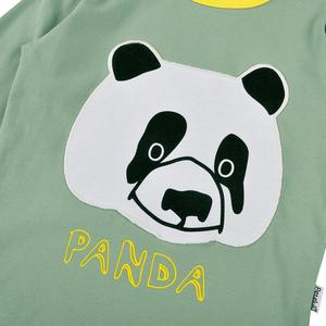 Petelulu wholesale boys high quality pajama set high quality kids 2 pieces sleep wear panda pattern long sleeve home wear