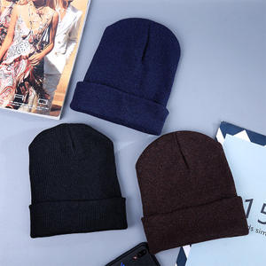 A93 Wholesale Cheap Winter warm Pure color thick melon cap wool beanie knitted hat