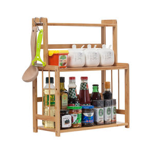 Hot Sale 3-Tier Natural Bamboo Wooden Kitchen Spice Rack, Countertop Storage Organizer