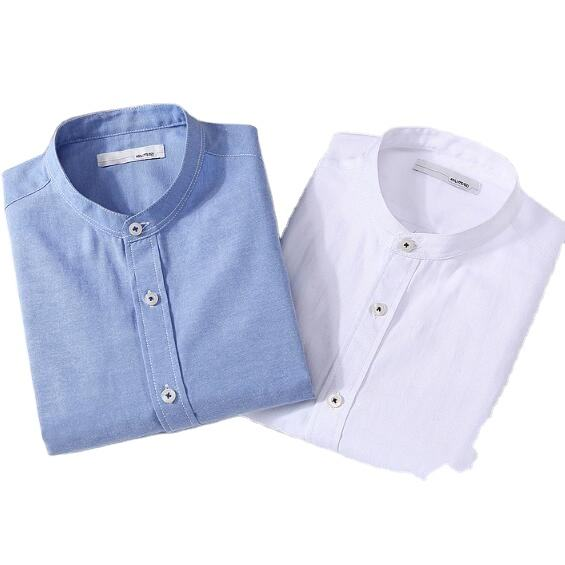 Mens banded mandarin round collar long sleeve oxford shirts