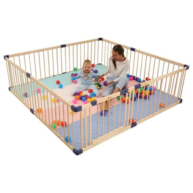 Extra-Large Kids Play Fence Folded For Babies Baby Wooden Playpen