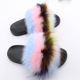 Wholesale colorful women furry fur fuzzy slippers fur sides fur sipper