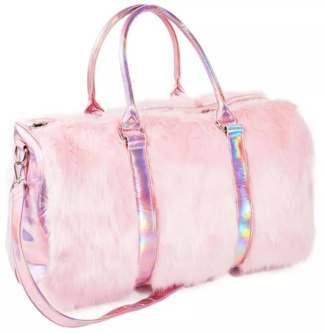 H331 Female Luxury Fantasy Fur Decorated Handbags Holiday Travel Outdoor Large Capacity Laser Weekender Bag