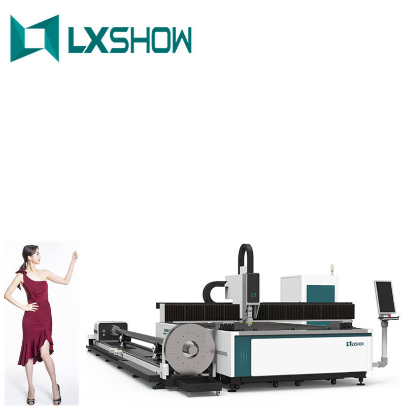 2021 LXSHOW affordable 1kw 4kw stainless steel square tube carbon steel pipe auto rotary fiber laser cutting machine for metal
