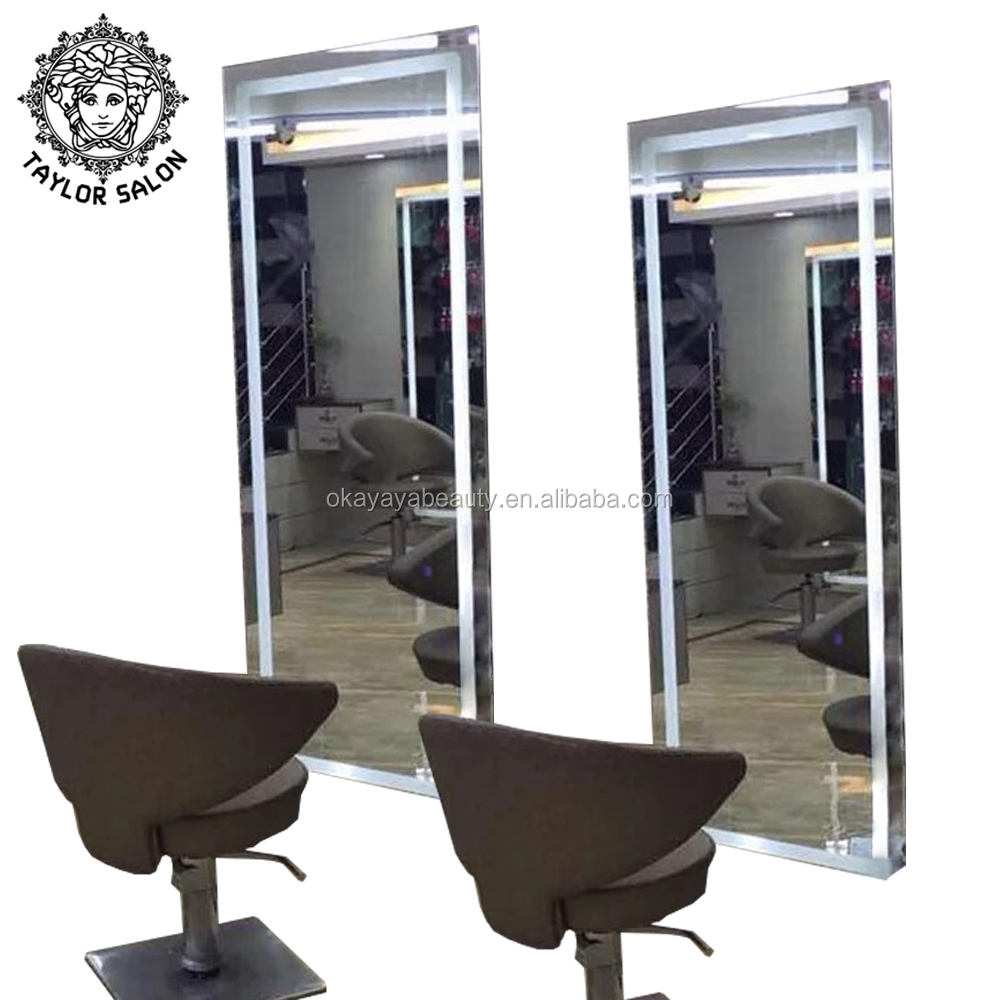Modern salon styling stations lighted salon stations wall mounted salon mirror for sale