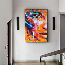 Fire Abstract Half Face  Modern Graffiti Art  Pictures Decoration  abstract print artwork