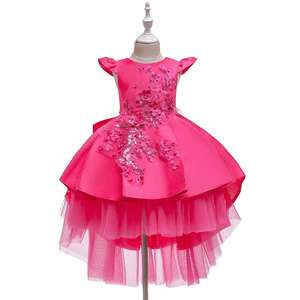 Elegant style flower girl dress patterns for wedding pink princess dress for birthday party kid evening gown for 10 years