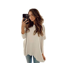 Solid Crew neck Batwing Sleeve Relaxed-fit Pullover Sweater