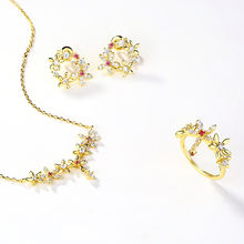 Korean jewelry gemstone floral 14K gold plated wedding bridal jewelry set