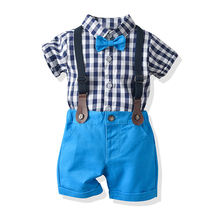 Wholesale children's clothing boy gentleman suit cotton comfortable short-sleeved plaid shirt flower girl clothes