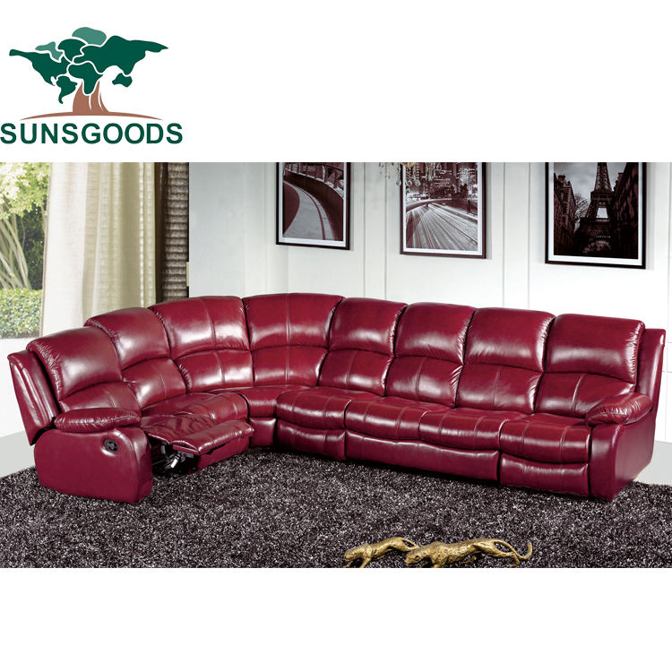 B010a New luxury home furniture reclining L shaped corner sectional genuine leather 7 seater couch living room sofa set design