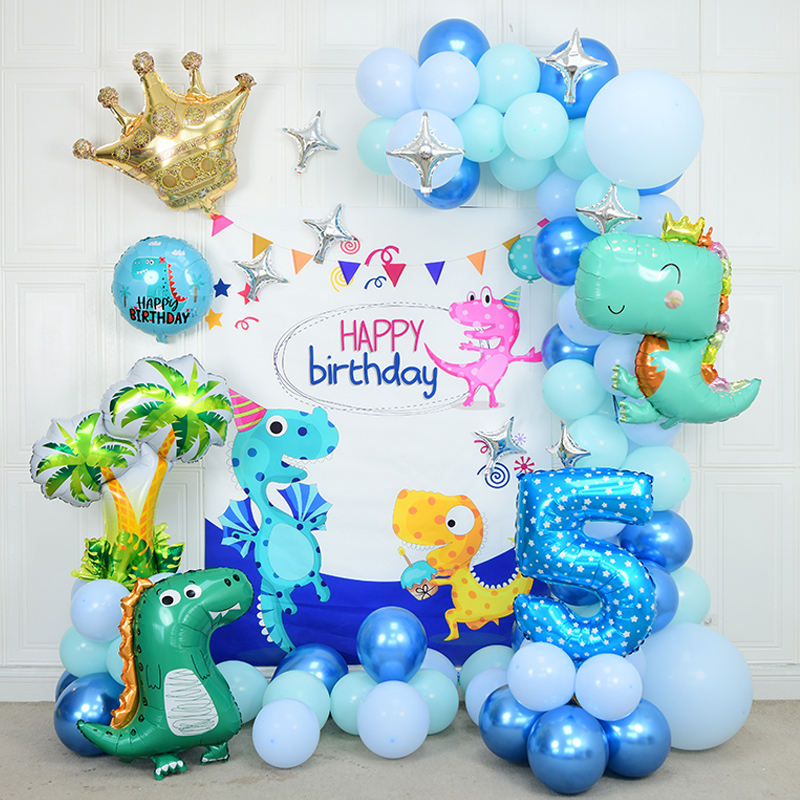Dinosaurier alles Gute zum Geburtstag Party dekorationen Bunte Filz girlande Latex ballons mit Dino Jungle Theme/