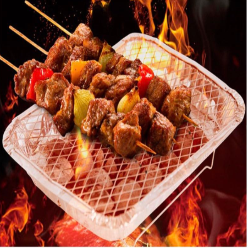 disposable foil instant grill BBQ tray conclude net and fruit charcoal in one set with holes window easy to go to outdoor picnic