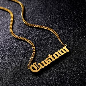 Personalized Custom Name Necklaces for Women Men Gold Color Initial Necklace Pendant Nameplate Stainless Steel Jewelry