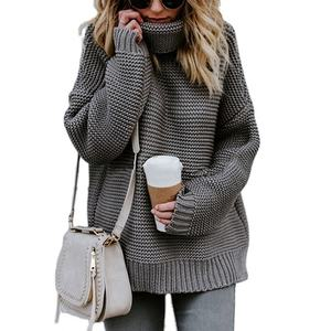 2020 newest design Women's Turtle Cowl Neck Ribbed Cable Knit Long Sweaters women