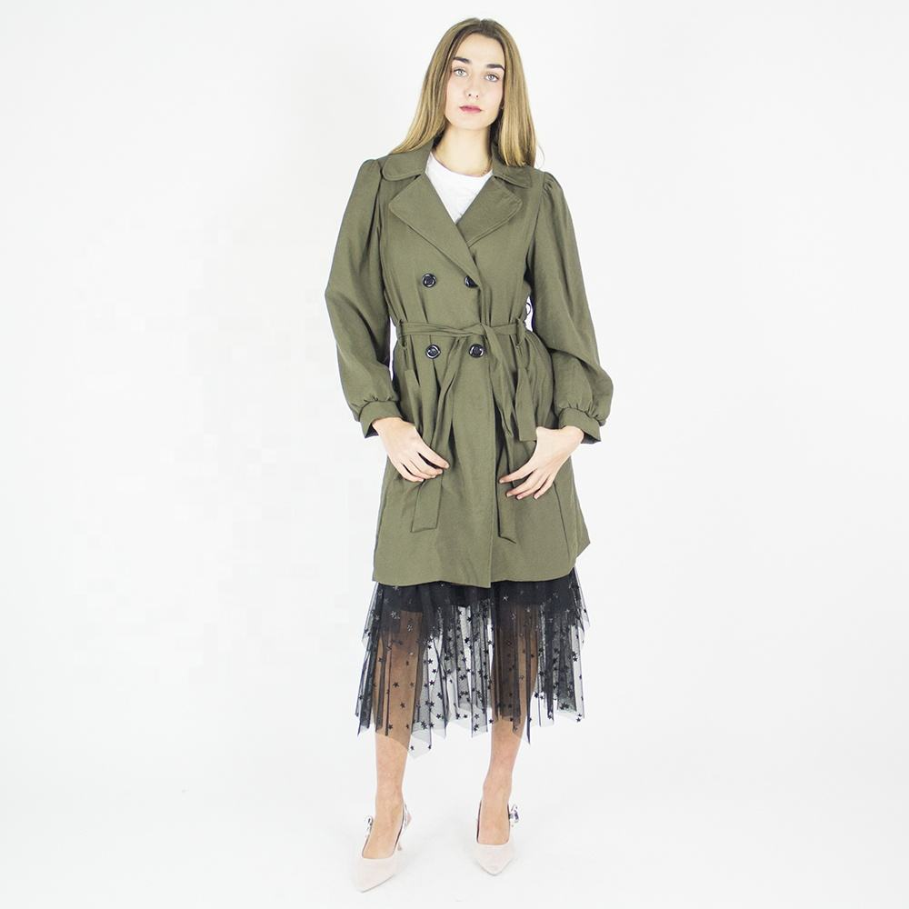 Italian Brand 2020 OEM spring fashion military green trench coats for women