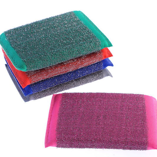 Stainless steel wire nylon polyester kitchen scrubber ,promotional durable dish washing sponge scourer