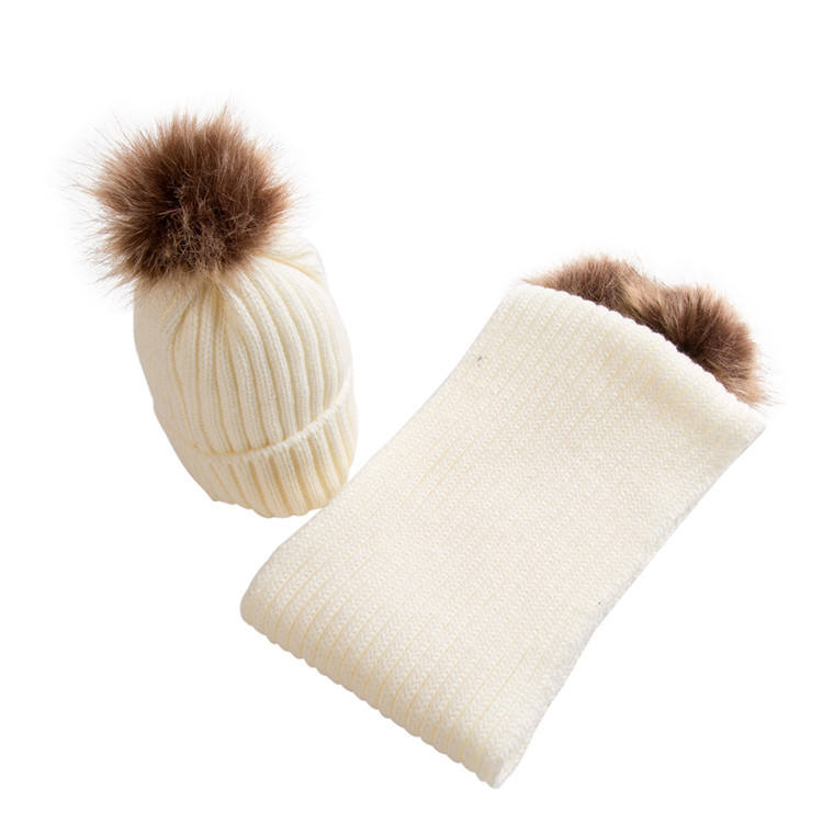 Women style winter fashion design acrylic baby hat beanie with pom scarf hat set