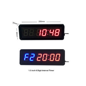 1.5 inch 6 digit afstandsbediening gym led interval timer