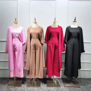 Hot sell plain suit soft crepe modern design women daily wear 3 pcs set