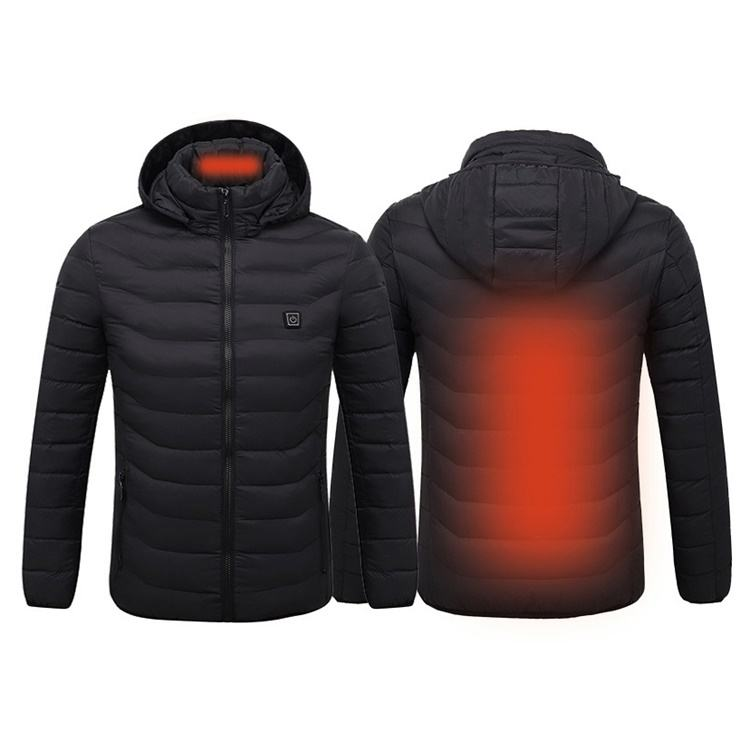 Stock wholesale winter mens plain down puffer heated jacket with hoody