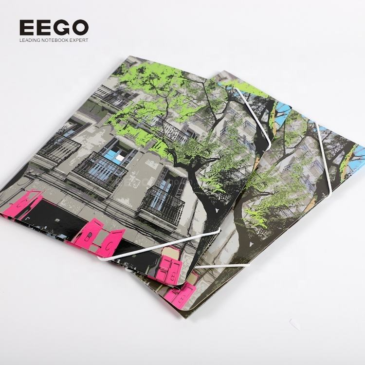 Paper Folder With Elastic Wholesale Cheap Price Custom Printing Hardcover A4 Thick Craft Paper File Folder With Elastic Bands