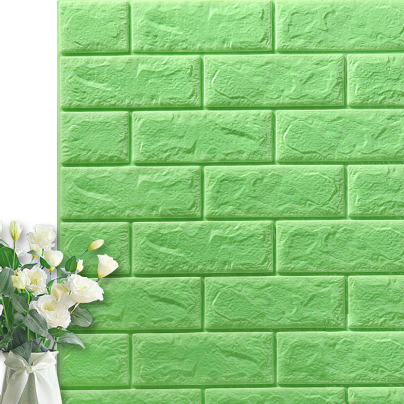 Hot sale verde pradaria self adhesive foam tijolo 3d papel de parede