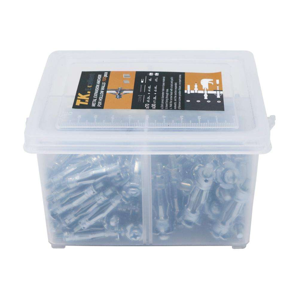 T. K. Excellent Hollow Wall Anchor 8*34+11*36 Assortment Kit, 100 Pcs