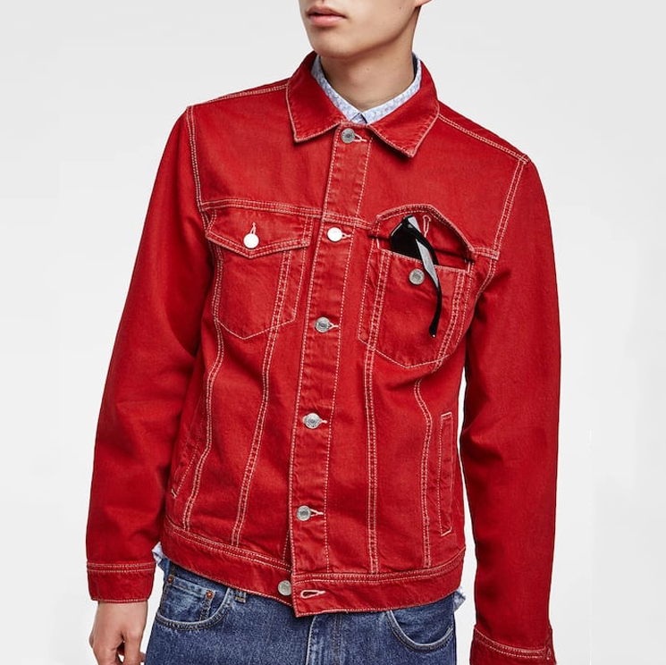 2019 Custom Design Men Oversize Windbreaker Workwear Canvas Cotton Denim Short Red Jacket