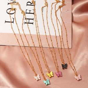 Wholesale cheap women accessories alloy gold plated inlay colorful resin butterfly pendant necklace