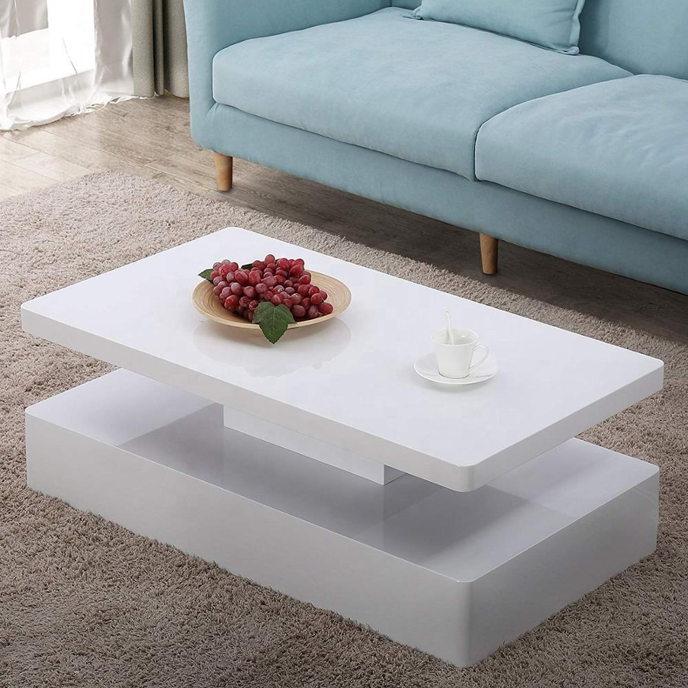 2 Modern Glossy White Rectangle Living Furniture LED Coffee Table