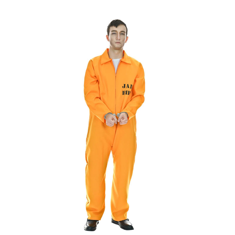 Halloween Adult Prisoner Uniform Carnival Party Role Play Performance Orange Prison Cosplay Costume For Men