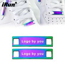 iRun Latest style gradient color metal lacelock af1 shoe laces durbaes blank logo custom shoelace charms