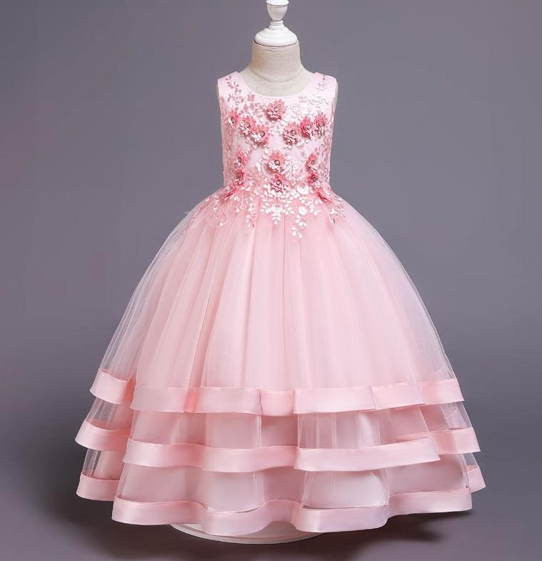 Wholesale Kids Clothing Evening Gowns Children Clothes Flower Baby Girl Dresses For Party Wear 3040