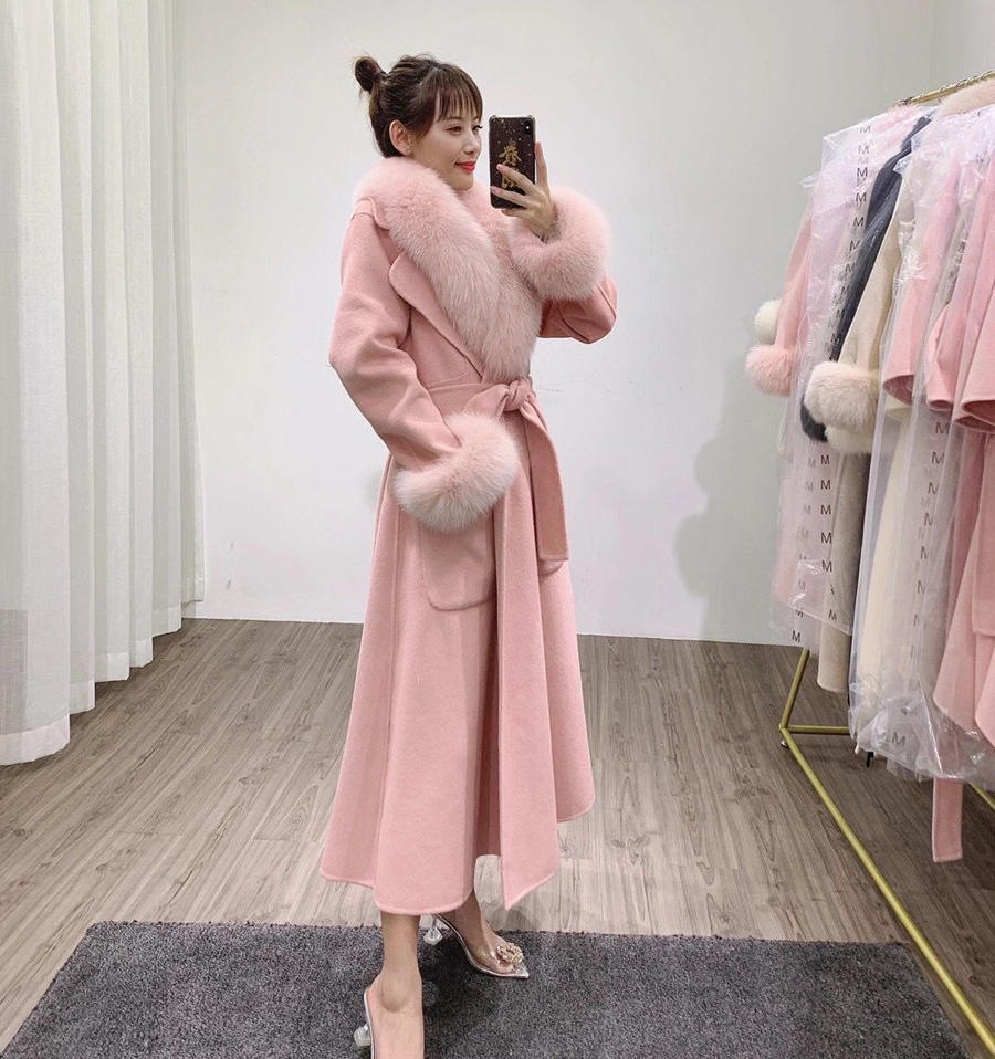 CX-G-T-29A Elegant Style Real Fox Fur Collar Cuffs Women's Winter Long Coats Double Face Wool Cashmere Coat